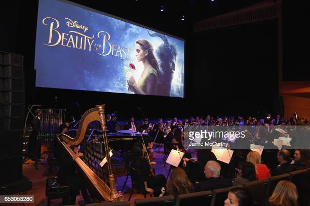 An orchestra performs at the New York special screening of Disney's liveaction adaptation 'Beauty and the Beast' at Alice Tully Hall on March 13 2017...