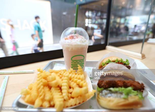An order of fast food meal at a Shake Shack restaurant at Sanitun on August 13, 2020 in Beijing, China. Shake Shack opened its first restaurant in...