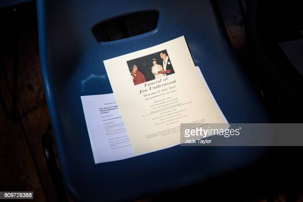An order of service for the funeral of Jon Underwood sits on a chair at the Jamyang Buddhist Centre on July 6 2017 in London England The funeral of...