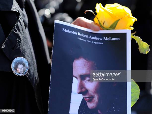 An order of service for the late Malcolm McLaren outside Highgate Cemetery on April 22 2010 in London England