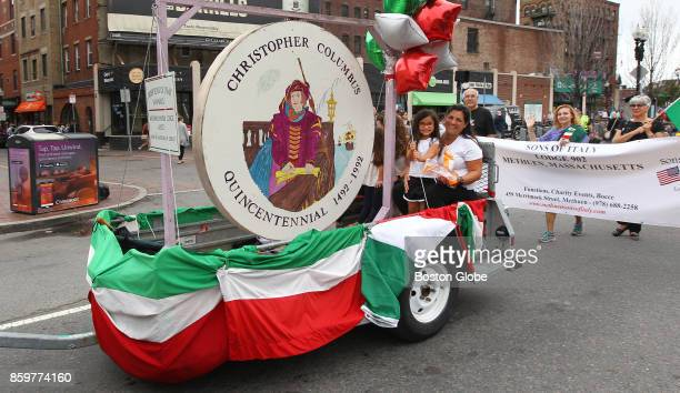 An Order of the Sons of Italy in America Winthrop Lodge 2057 float is pictured during the annual Columbus Day Parade in Boston on Oct 8 2017 Some...
