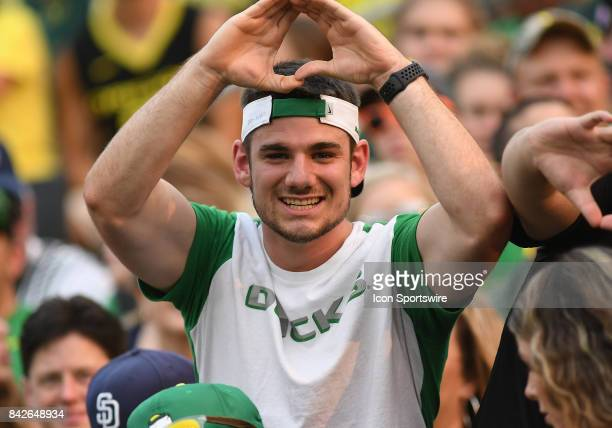 An Oregon Ducks fan shows his support during a college football game between the Southern Utah Thunderbirds and Oregon Ducks on September 2 at Autzen...