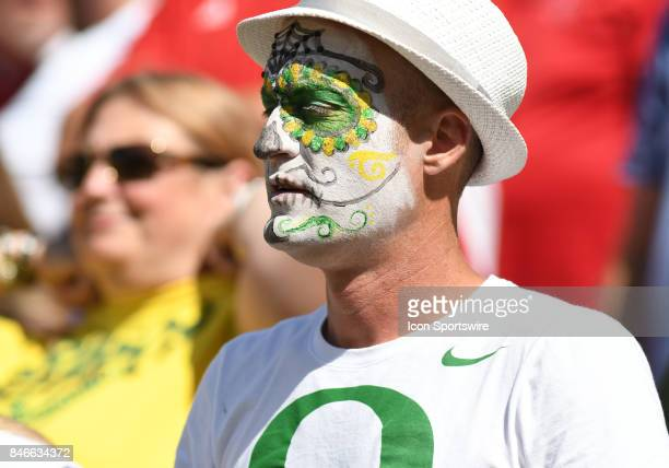 An Oregon Ducks fan shows his support during a college football game between the Nebraska Cornhuskers and Oregon Ducks on September 9 at Autzen...
