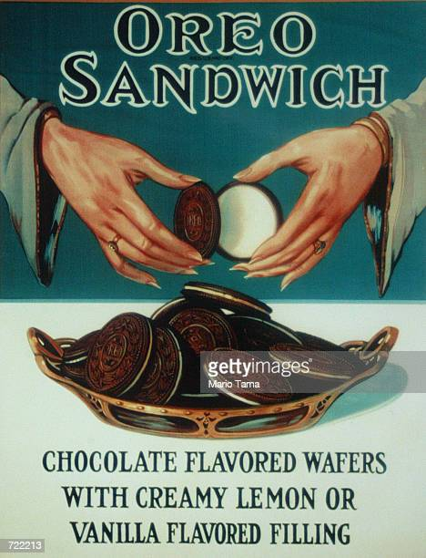 An Oreo cookies advertisement circa 1924 is seen June 12 2002 in New York City Oreo celebrated its 90th birthday at the Chelsea Market where the...