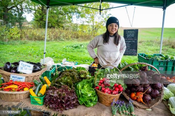 an organic farmer at an outdoor farm stand - bancarella di verdura foto e immagini stock