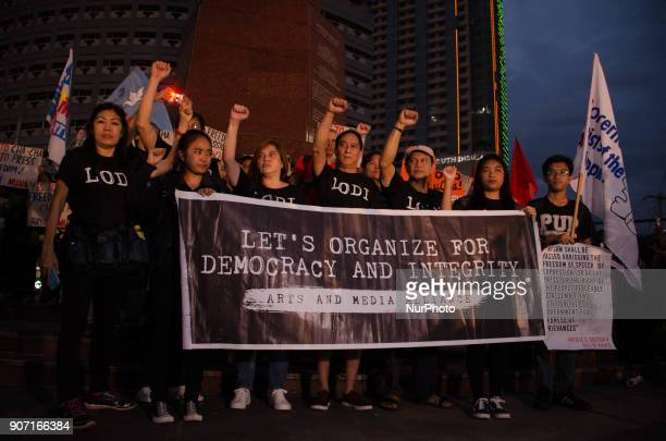An organization of artists and journalists called Let's Organize for Democracy and Integrity or LODI stages a protest against the Security and...