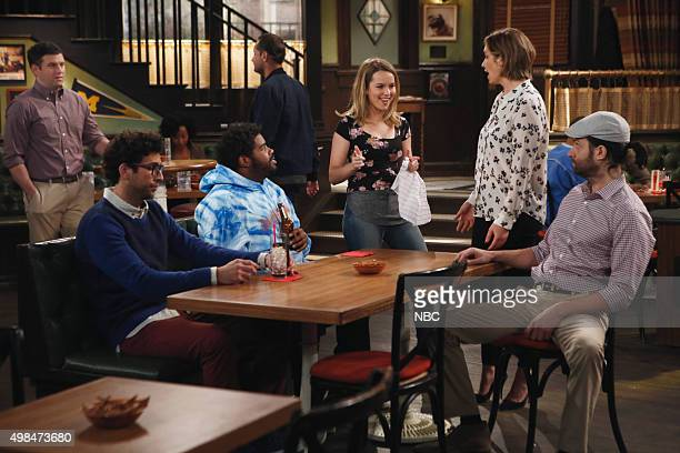 UNDATEABLE An Origin Story Walks Into a Bar Episode 307A Pictured Brent Morin as Justin Rick Glassman as Burski Ron Funches as Shelly Bridgit Mendler...