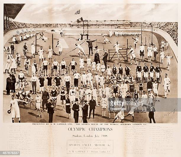 An original 1908 London Olympic Games poster titled Olympic Champions at the Stadium London July 1908 published by A W Gamage Ltd Holborn London 70...