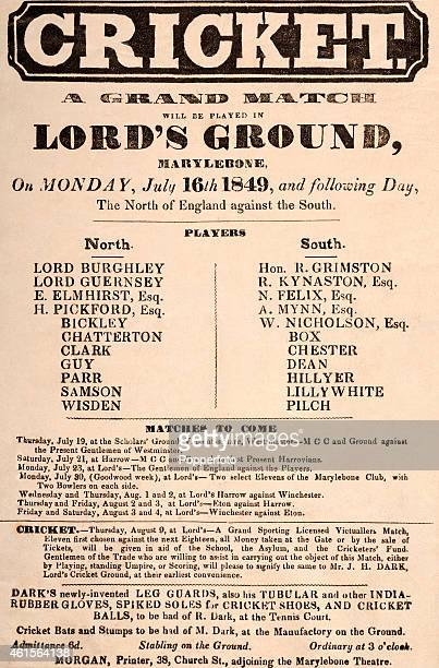 An original advertising handbill for the Grand Cricket Match at Lord's Ground in London between selected teams from the North and South of England to...