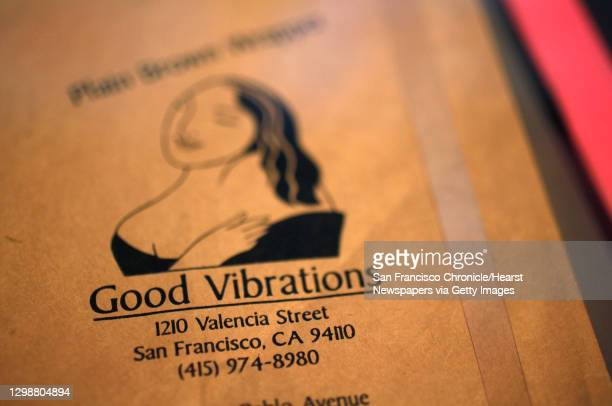 An original brown paper bag from Good Vibrations on 1210 Valencia, a historic sex toy store that promoted sex-positivity on display June 10, 2014 at...