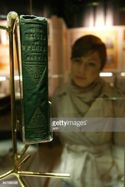 """An original copy of a book entitled """"The Origin of Species"""" written by British naturalist Charles Darwin is pictured in a museum at Down House,..."""