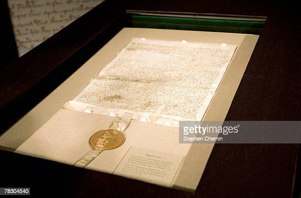 An original copy of the Magna Carta is on display at Sotheby's December 7 2007 in New York City The 1297 charter issued by King Edward I that...