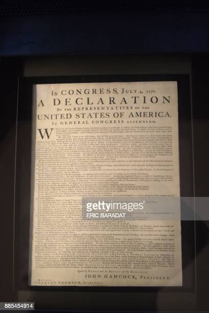 An original copy of the US Declaration of Independence from 1776 is on display at the Independence Hall in the city center of Philadelphia on...