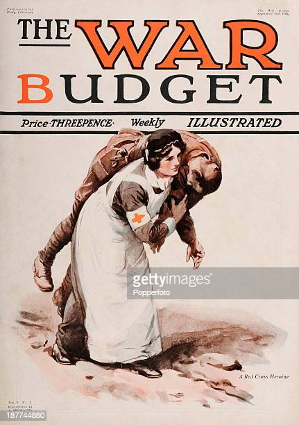 An original cover of 'The War Budget' featuring a Red Cross nurse carryng a wounded soldier during World War One published by the Daily Chronicle on...