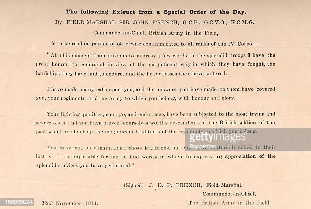 An original document with an extract from a Special Order of the Day recognising the splendid services which the troops under his command had...