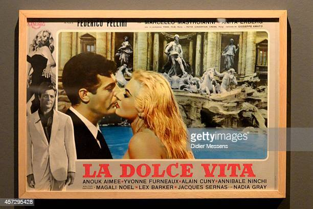 An original filmposter of La Dolce Vita is shown as part of the Fellini Exhibition at Caermersklooster on October 15 2014 in Ghent Belgium