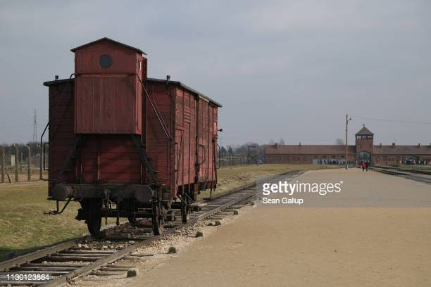 An original German freight car like those the Nazis used to transport Jews to concentration camps in stands at the Auschwitz II-Birkenau memorial...