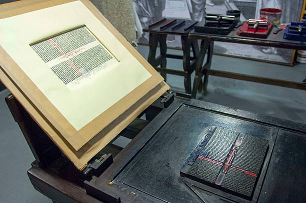 An Original Gutenberg Printing Press On Display In The Museum Old Town Of