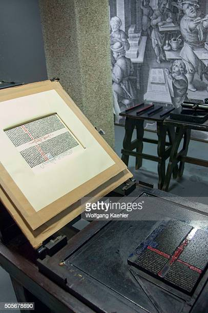An original Gutenberg printing press on display in the Gutenberg Museum in the old town of Mainz in Germany