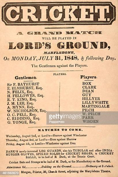 An original handbill for the Grand Cricket Match to be played at Lord's Ground in London between the Gentlemen and the Players on Monday 31st July...