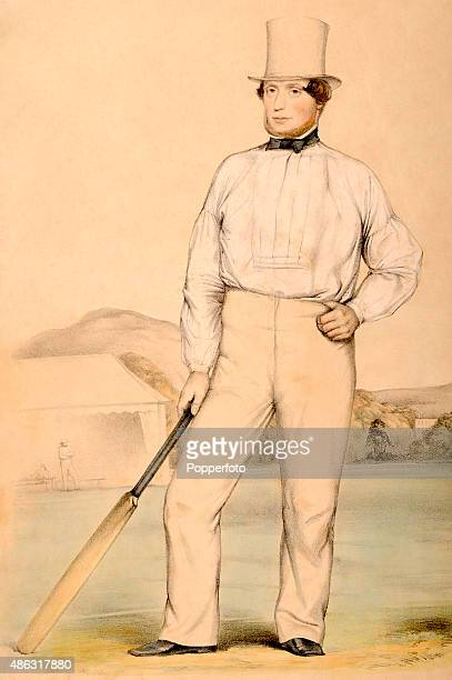 An original handtinted lithograph by John Corbet Anderson depicting Nottinghamshire and England cricketer George Parr wearing a top hat and whites...