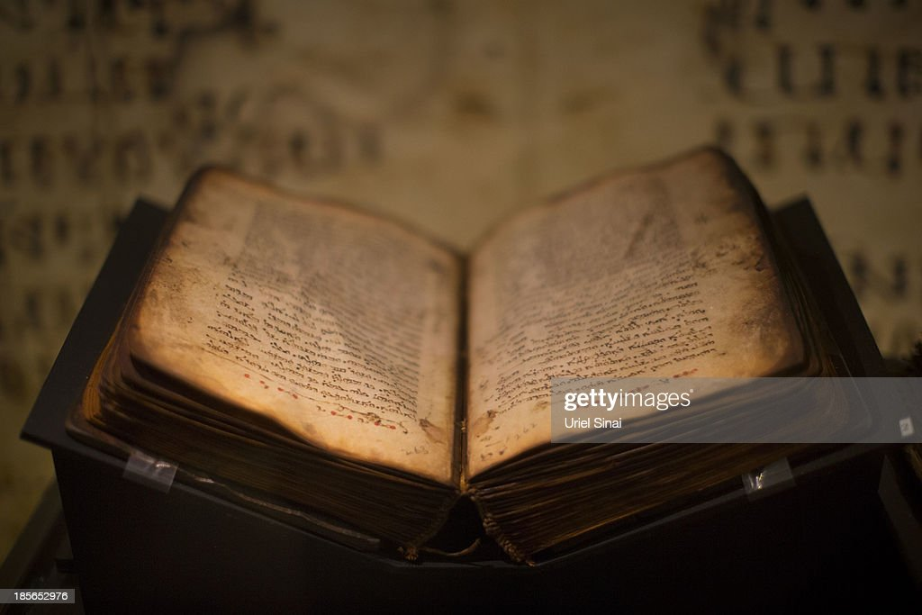 An original handwritten Facsimilia of Khabouris Codex complete New Testament in Syriac (Peshitta) from the 11th century is displayed the 'Book of Books' exhibition in the Bible Lands Museum on October 23, 2013 in Jerusalem, Israel. The exhibition contains more than 200 of the rarest biblical manuscripts, including original fragments from the Septuagint and the earliest New Testament Scriptures. This exhibition opened in Israel before heading to the Vatican and ends in Washington D.C, where it will be permanently displayed.