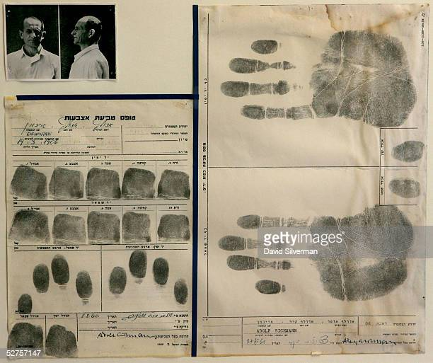 An original Israeli police documents dated August 8 shows the fingerprints and signature of the Nazi war criminal Adolf Eichmann at the Yad Vashem...