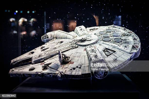 An original model of the Millennium Falcon is displayed at the Star Wars Identities exhibition at The O2 Arena on November 11, 2016 in London,...