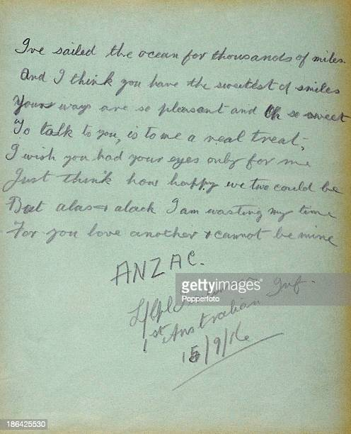 An original page from an autograph album belonging to Nurse Mottram of Caldersyde House featuring a poem of unrequited love between her and an ANZAC...