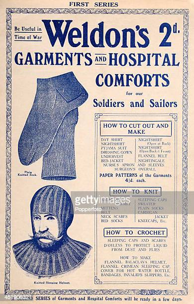 An original pattern book featuring garments and hospital comforts for soliders and sailors with instructions on how to cut out and make knit and...