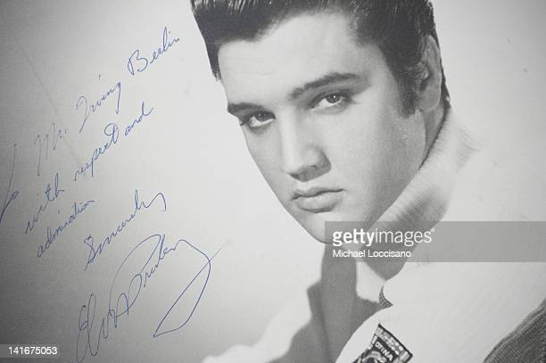 An original photograph of Elvis Presley autographed and inscribed to songwriter and compose Irving Berlin on auction at Gotta Have It store on March...