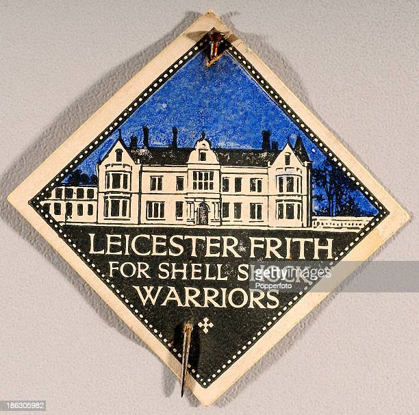 An original pin sold for charity on Flag Day featuring the Leicester Frith Hospital 'for Shell Shock Warriors' during World War One circa 1916