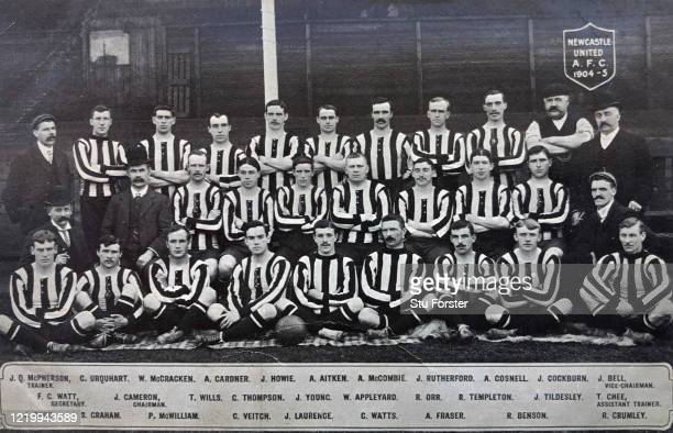 An original postcard showing the Newcastle United Championship winning squad for the 190405 season including star players Colin Veitch James Lawrence...