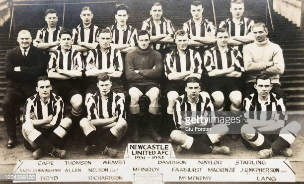 An original postcard showing the Newcastle United squad from their FA Cup winning season of 1931/32 pictured include Sam Weaver and Jack Allen as...