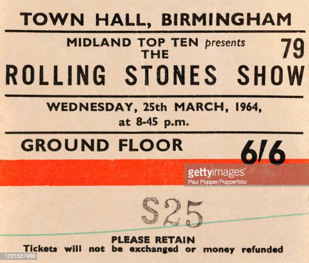 An original ticket for the Rolling Stones Show, promoted by the Midland Top Ten, in concert at the Town Hall in Birmingham, England, on 25th March...