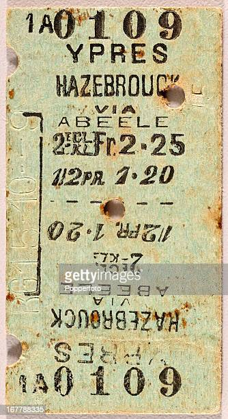 An original train ticket for a journey from Ypres to Hazebrouck via Abeele during World War One circa 1914