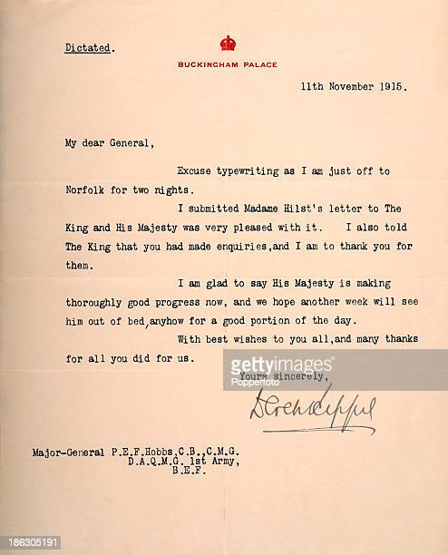 An original typewritten letter on Buckingham Palace letterhead addressed to MajorGeneral PEF Hobbs commenting on the King's health during World War...