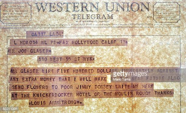 An original Western Union telegram from Louis Armstrong is seen during a press preview for Jazz The Auction in the new headquarters of Jazz at...