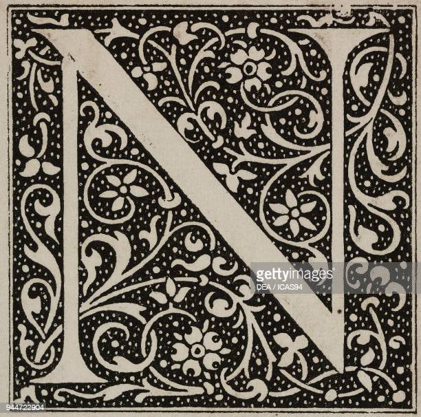N an ornate capital letter Bible by Robert Estienne engraving from L'Art pour Tous Encyclopedie de l'art industriel et decoratif by Emile Reiber No...