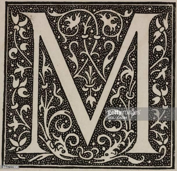 M an ornate capital letter Bible by Robert Estienne engraving from L'Art pour Tous Encyclopedie de l'art industriel et decoratif by Emile Reiber No...