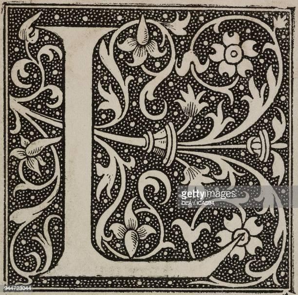L an ornate capital letter Bible by Robert Estienne engraving from L'Art pour Tous Encyclopedie de l'art industriel et decoratif by Emile Reiber No...