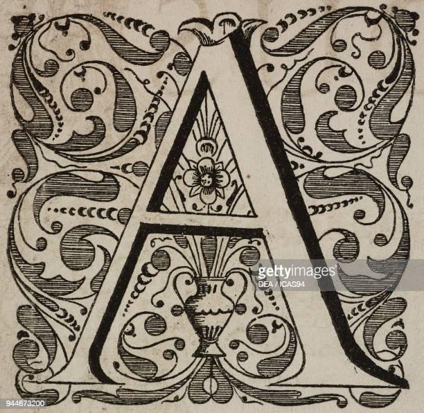 A an ornate capital letter engraving from L'Art pour Tous Encyclopedie de l'art industriel et decoratif by Emile Reiber No 37 Paris 1862