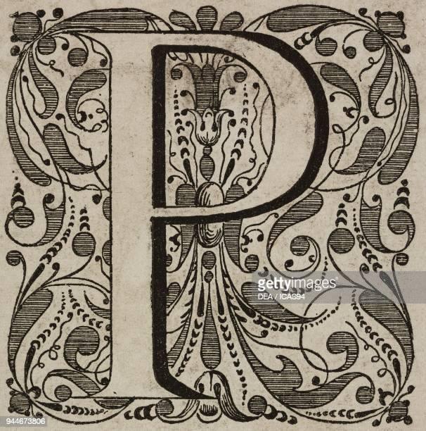 P an ornate capital letter engraving from L'Art pour Tous Encyclopedie de l'art industriel et decoratif by Emile Reiber No 37 Paris 1862
