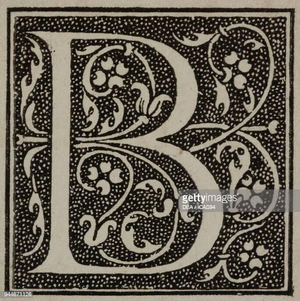 B an ornate capital letter from Comedies de Terence printed by Jean de Roigny engraving from L'Art pour Tous Encyclopedie de l'art industriel et...
