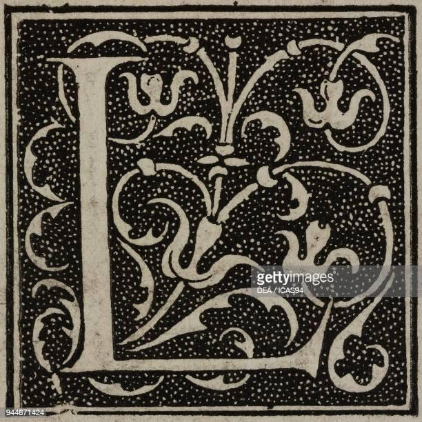 L an ornate capital letter from Comedies de Terence printed by Jean de Roigny engraving from L'Art pour Tous Encyclopedie de l'art industriel et...