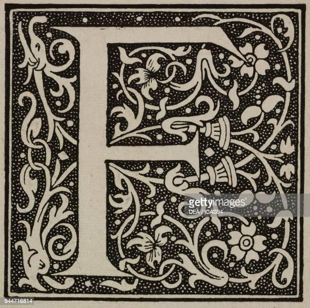 F an ornate capital letter from the era of Francis I of France engraving from L'Art pour Tous Encyclopedie de l'art industriel et decoratif by Emile...