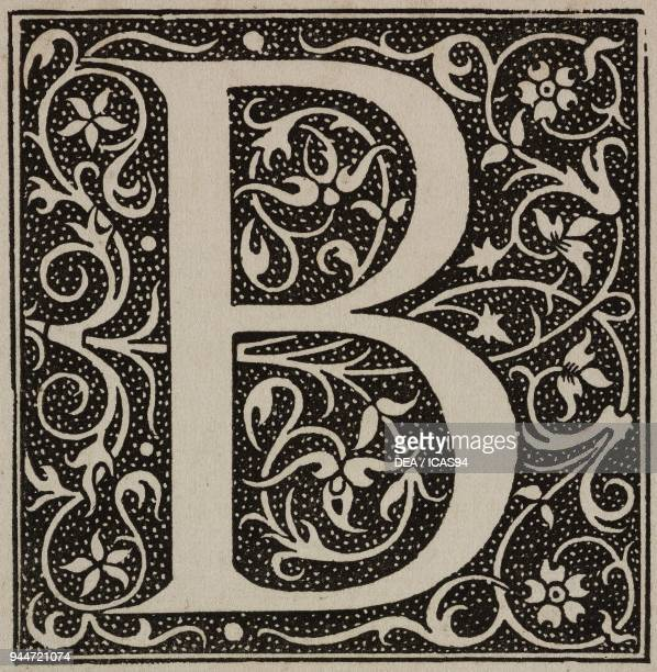 B an ornate capital letter from the era of Francis I of France engraving from L'Art pour Tous Encyclopedie de l'art industriel et decoratif by Emile...