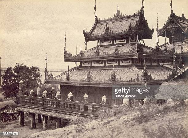 An ornate monastery or Kyung in Burma possibly Ne Nan Gyung 1855