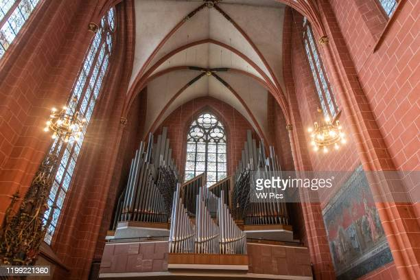 An ornate organ in the Imperial Cathedral of Saint Bartholomew , Frankfurt Germany.