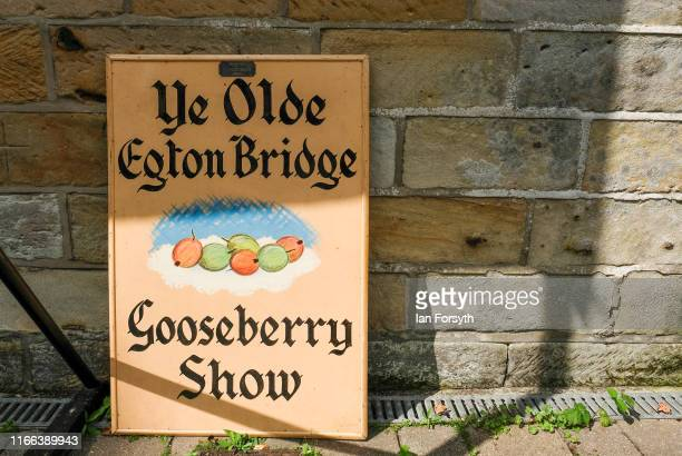 An ornate sign is displayed during the annual Egton Bridge gooseberry show on August 06 2019 in Whitby England The gooseberry show was established in...